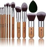 BS-MALL Bamboo Silver Premium Synthetic Kabuki Makeup Brush Set Cosmetics Foundation Blending Blush Face Powder Brush Makeup Brush Kit Plus Black Teardrop Makeup Blender Sponges (11pcsbamboo)