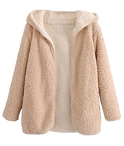 Doballa Women's Reversible Open Front Shaggy Cardigan Oversized Hooded Fleece Teddy Coat Jacket Beige