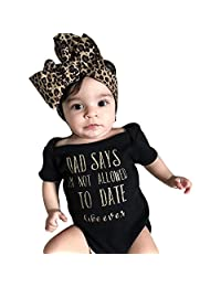 WOCACHI Toddler Baby Girls Clothes, Newborn Infant Baby Girls Letter Romper Jumpsuit Headband Outfits Clothes Set