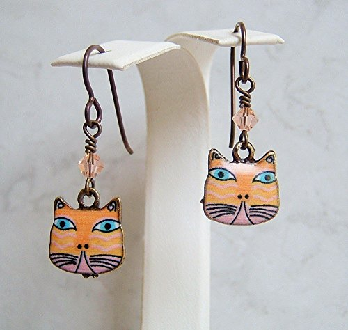 Adorable Peach Cat Antique Brass Niobium Earrings Teen Girl Women Graduation Her Special Day Gift Idea
