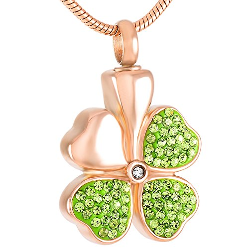 constantlife Cremation Memorial Jewelry Urn Necklace for Ashes Lucky Four-Leaf Clover Design Stainless Steel Pendant Ashes Holder Charm Keepsake (Rose Golden and Fresh Green) ()