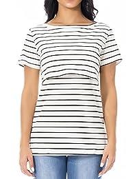 Smallshow Women's Maternity Nursing Top Stripe Breastfeeding T-Shirt