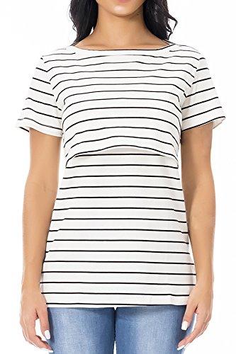 Tops al Smallshow Infermieristica Donna Allattamento Corte Seno t Shirt a Maniche Summer Righe Bianca a BqwT7fqEp