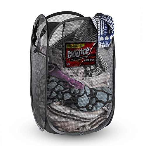 Foldable Pop-Up Mesh Hamper, Laundry Hamper with Reinforced Carry Handles Rectangle, Black (1)