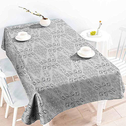 familytaste Grey,Table Cloth for Outdoor Picnic Victorian Antique Tile Pattern with Royal Curlicues Old Rich Scroll Regency Motifs 60