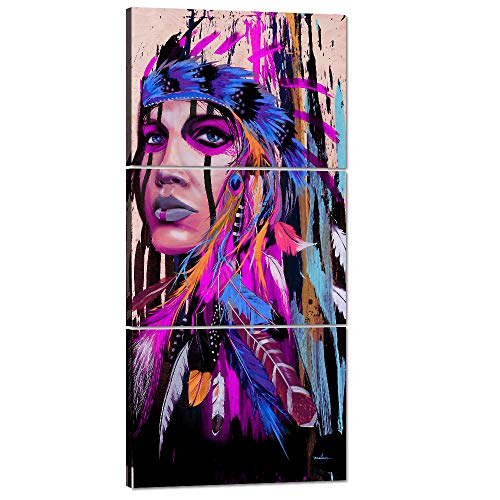 (Modernism Abstract Purple Canvas Art Feathers Native Americans Feather Purple Painting on Canvas 3 PCS Artwork Indian Chief Western Wall Art Women Home Wall Decor Picture,Framed)