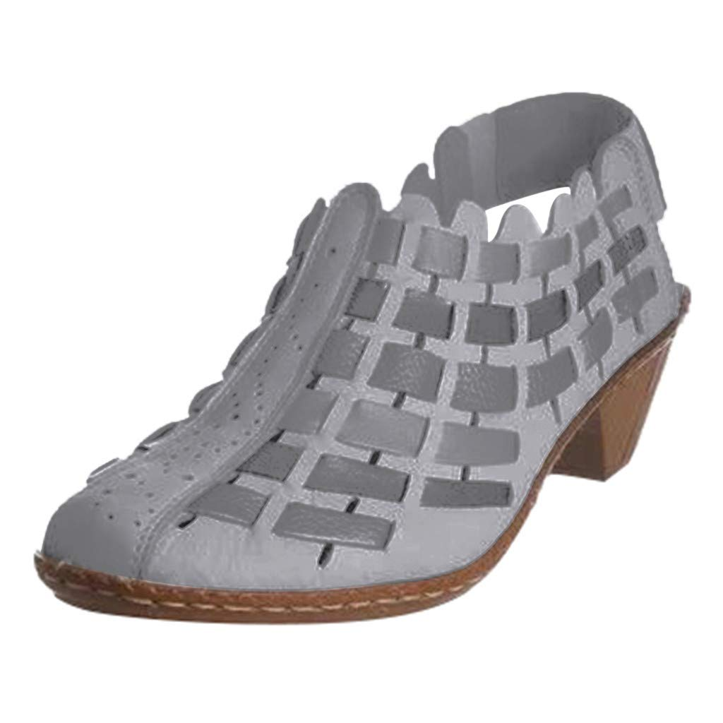 Ankle Boots for Women Cutout Chunky Block Low Heel Closed Round Toe Shoes Woven Gladiator Casual Loafers (US:6.5-7.0, Gray) by Appoi Women Shoes