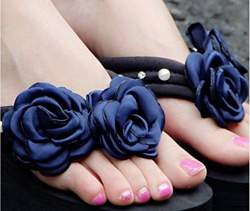 SCLOTHS Chanclas para mujer Pendiente inferior grueso chanclas de playa antideslizante Flores outdoor tacón alto Blue 5.5CM