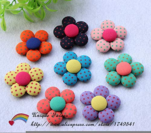 (Maslin 30pcs Big 40mm Polka Dot Fabric Covered Button Flowers Flatback Button Patches for Hair Clips,Baby Clothes Decor - (Color: Mix))