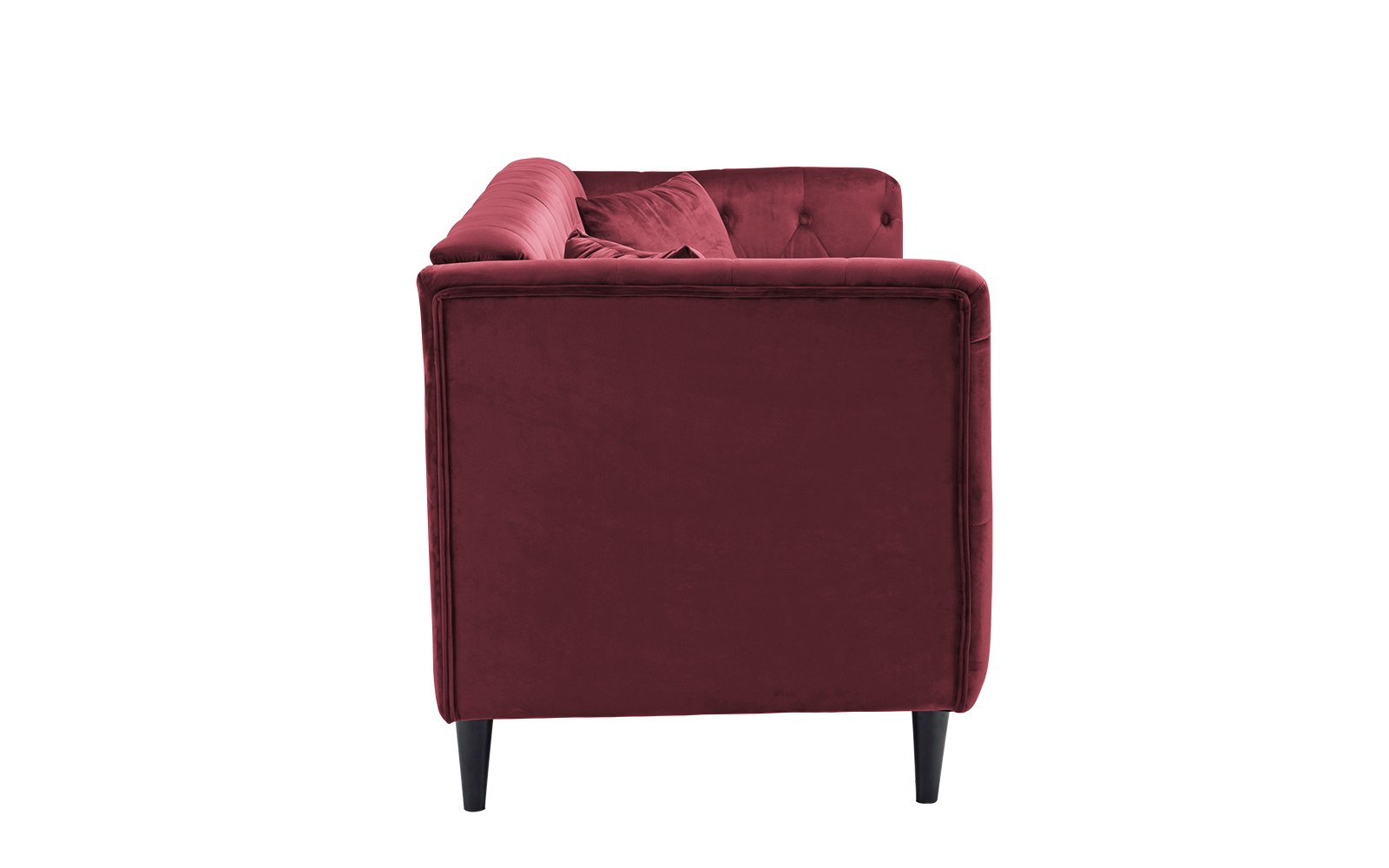 Sofamania Mid-Century Velvet Sofa, Living Room Couch with Tufted Buttons (Red) - Classic tufted sofa with a club style frame, button details and includes 2 decorative pillows in the same fabric. Upholstered in soft hand chosen velvet fabric on a hardwood frame with dark wooden Mid-century style legs. Seat and back cushions are filled with high density foam to provide plush yet firm comfort for long lasting use. - sofas-couches, living-room-furniture, living-room - 51OrABCpzTL -