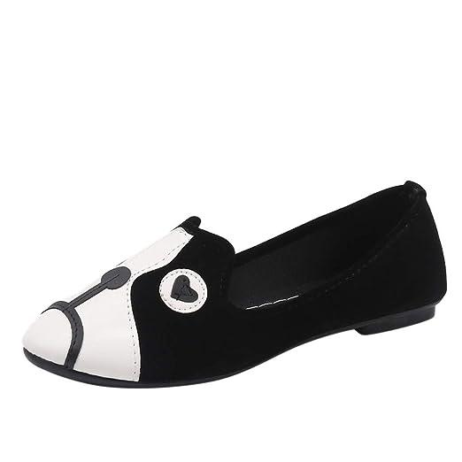 6ac49d97d3388 2019 Spring Women's Round Head Flat Single Shoes Cartoon Animal ...