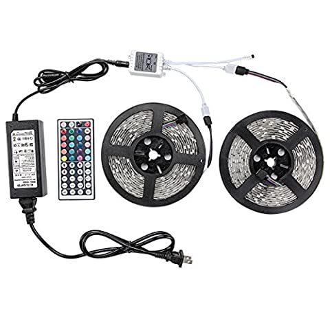 WenTop Led Strip Lights Kit DC12V UL Listed Power Supply SMD 5050 32.8 Ft (10M) 300leds RGB 30leds/m with 44key Ir Controller for Pool, TV Backlighting , Truck, Camper and (Cabinet For Sheet Music)
