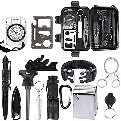 OIVO Survival Gear Kits 13 in 1 Emergency Survival Kits Multi Professional Outdoor Survival Tool Tactical Pen Compass Fire Starter Whistle Flashlight for Travel Hike Field Camp Wild Survival Hunting by OIVO
