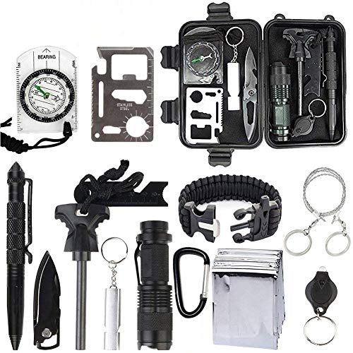 OIVO Survival Gear Kits 13 in 1 Emergency Survival Kits Multi Professional Outdoor Survival Tool Tactical Pen Compass Fire Starter Whistle Flashlight for Travel Hike Field Camp Wild Survival Hunting