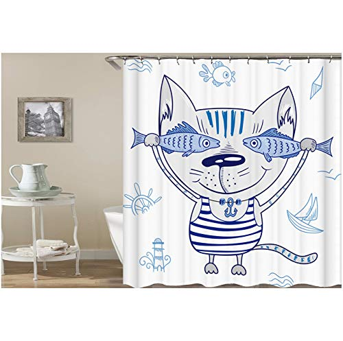 Aokarry Polyester Shower Curtain Blue White Striped Vest Cat Fish 72x80 ''