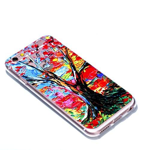 Crisant Case Cover For Apple iPhone 6 6S 4.7'' (4,7''),Arbre à peinture à l'huile Premium gel TPU souple Très mince Transparent Clair Bumper silicone protection Housse arrière coque étui Pour Apple iP