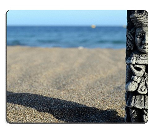 MSD Natural Rubber Mousepad Ancient Maya Statue on the Sand Beach near the Ocean IMAGE 28372326