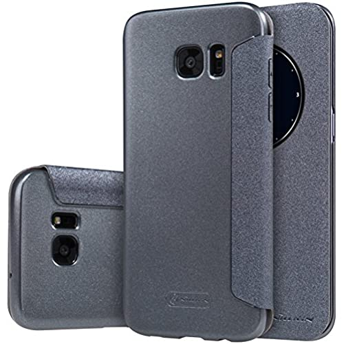 S7 Edge Case, JUN-Q Galaxy S7 Edge Window Case, [Big Window] Luxury PU Case View Flip Scrub Cover for Samsung Galaxy S7 Edge, Black Sales