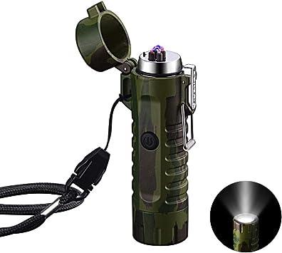 VOMONO Encendedor de arco eléctrico LED portátil al aire libre - Encendedores de plasma a prueba de viento - USB recargable - Linterna de camping, ...