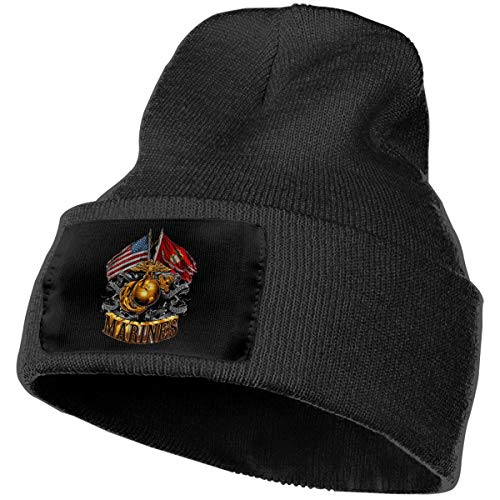 - Marine Corps Gold Globe Patriotic Unisex Knitted Hat Daily Knitting Beanies Caps Black