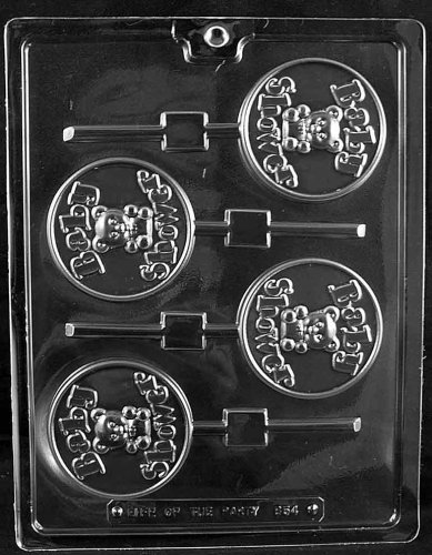 Cybrtrayd Life of the Party B054 Baby Shower Lolly Chocolate Candy Mold in Sealed Protective Poly Bag Imprinted with Copyrighted Cybrtrayd Molding Instructions Baby Shower Chocolate Lollipops
