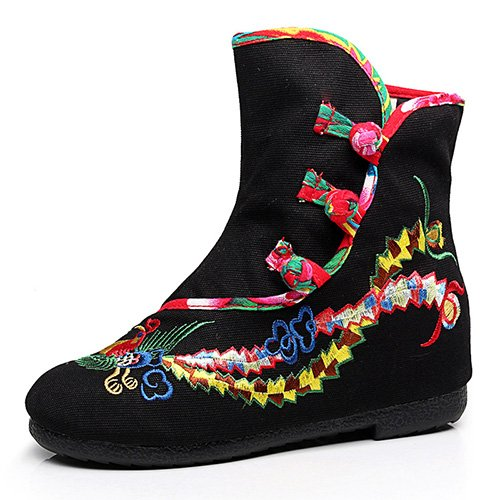 Style Khskx À Black Femmes Bottes vieilles Chaussures Un Phoenix Martin Roundinner Folklorique qTtTSOrwx