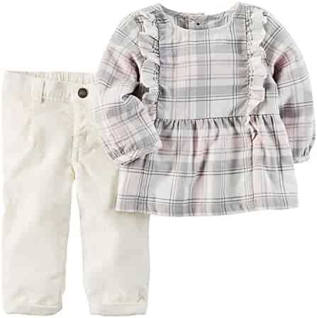 37a124ca3c Carter s Baby Girls  2 Piece Flannel Top and Corduroy Pants Set