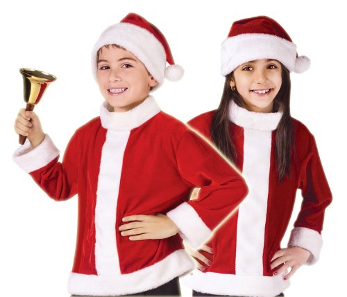 Fun World Kids Boys Girls Santa Claus Christmas Costume Jacket + Hat Small