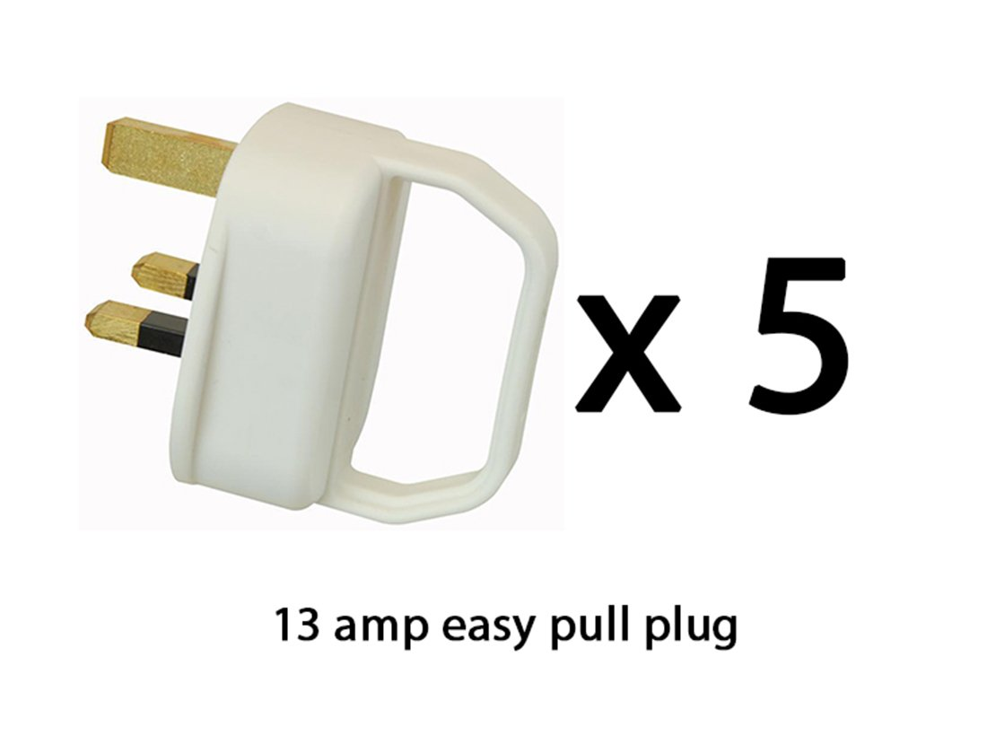 Easy Pull Mains Plug Top 13A Amp White Fused with a handle - arthritis / disability / weak grip / elderly - x5 pack of five Tradeforce