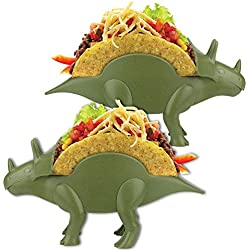 (Set/2) Tricerataco Double-Slotted Dinosaur Taco Holders For Fun Meal-Time