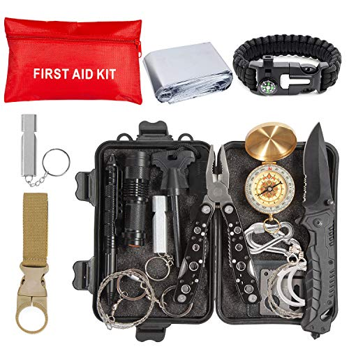 Emergency Survival Kit 36 in 1, Survival Gear Tool Kit SOS Survival Tool Emergency Blanket Tactical Pen Flashlight Pliers Wire Saw for Wilderness Camping Hiking First Aid Survival Kit for ()