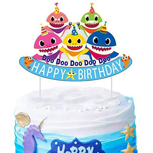 SAKOLLA Cute Shark Birthday Cake Topper - Little Shark Family Happy Birthday Cake Picks for Shark Theme Birthday Party Baby Shower