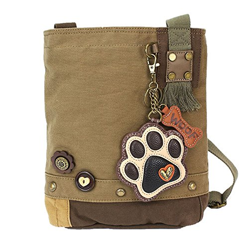 (Chala Patch Cross-Body Women Handbag, Olive Canvas Messenger Bag - Paw Print)