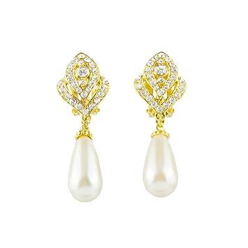 EVER FAITH® Gold-Tone Austrian Crystal Cream Simulated Pearl Flower Bud Clip-on Dangle Earrings Clear N03405-3 SACEQBWtS