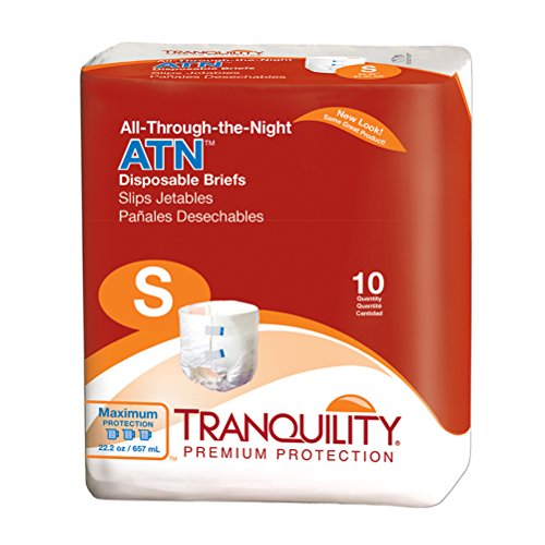 Tranquility ATN Adult Disposable Briefs with All-Through-The-Night Protection, S (24-32) - 100 ct (Pack of 10)