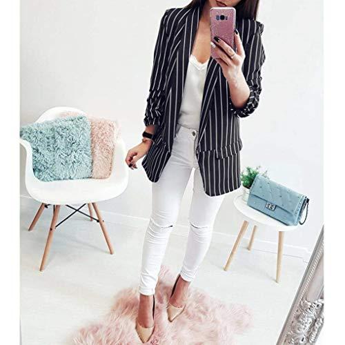 Manica Vintage Giacca Stripe Slim Cappotto Chic Tailleur Business Autunno Primaverile Eleganti Schwarz Outwear Lunga Moda Blazer Classiche Da Ufficio Donna Fit 7dwBFSqB