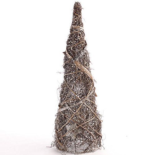 Natural Twig Rattan Cone Shaped Tabletop Tree with Silver Glitter Accents