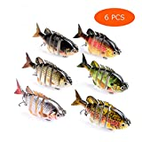 Juemenzhe Fishing Bass Lures Multi Jointed Topwater Life-Like Trout Swimbait Hard CrankBaits 6PCS Running Depth 5-10 feet