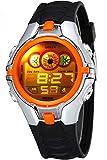Fashion Sport Digital Boy Girls Children Multifunction LED Back LightBlack Rubber Waterproof Quartz Watch (Orange)