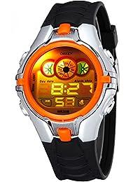 Fanmis Digital Boys Children Sport Multifunction LED Back Light Black Rubber Waterproof Watch Orange