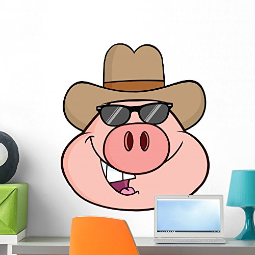 Pig Head Cartoon Character Wall Mural by Wallmonkeys Peel and Stick Graphic (24 in H x 21 in W) - Sunglass Icon Store