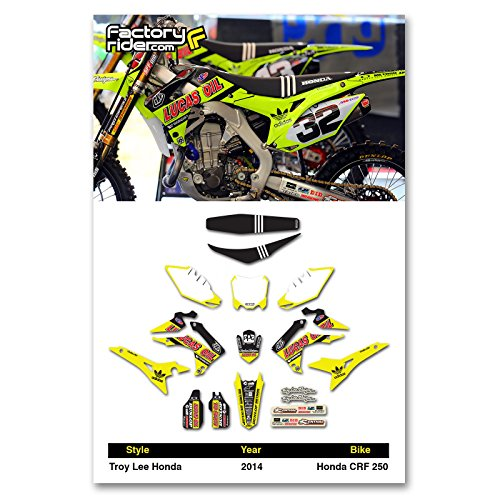 - Enjoy MFG 2014-2017 CRF 250 NEON Troy Lee Designs Lucas Oil Graphics Kit and Seat Cover BUNDLE