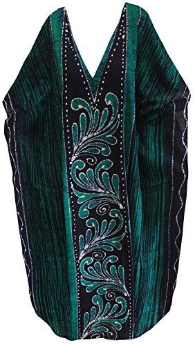 LA LEELA sciolto cover up abito kaftano Long Beach maniche ad aletta usura del cotone v abito collo maxi Verde_u973