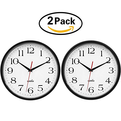 HIPPIH 2 Pack Silent 10 Inch Wall Clock Non Ticking Battery Operated Round Clock - Easy to Read for Home/Office/School