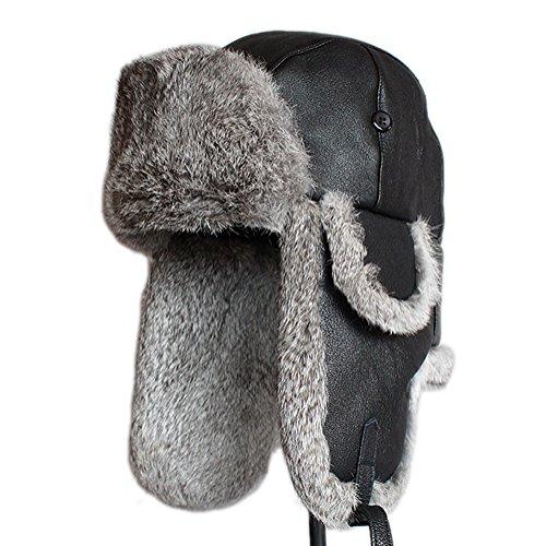 Furtalk Mens Lamb Sheep Leather Rabbit Russian Fur Aviator Hat dad hats winter soviet fur Ushanka trapper hat for men (M, Black) (Leather Trapper Hat)