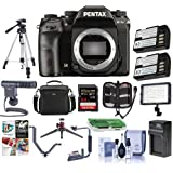 Pentax K-1 Mark II DSLR Camera (Body Only)- Bundle 64GB SDHC Card, Camera Case, Tripod, 2x Spare Battery, Video Light, Shotgun Mic, Compact Charger, Flip Flash Bracket, Software Package More