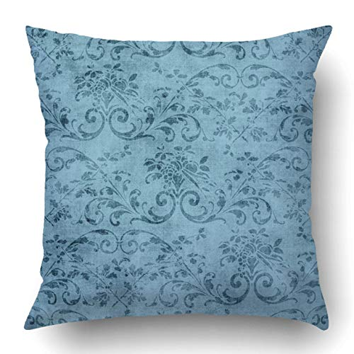 Jacobean Vine - Throw Pillow Covers Pretty Vintage Blue Floral Pattern Jacobean Vine Aged Flower Grungy Old Shabby Polyester 18 X 18 Inch Square Hidden Zipper Decorative Pillowcase