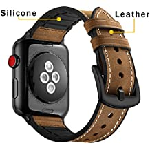 Coobes for Apple Watch Band 42mm Genuine Leather Silicone Hybrid Sport Wristband Men Women Vintage Leisure Replacement Strap for iwatch Series 3/2/1 Nike+ Sports Edition Hermes(Crazy Horse Brown)