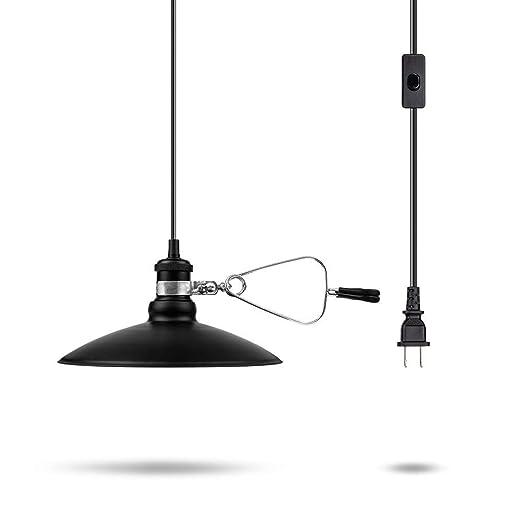 Black Metal Pendant Light Fixtures Relassy Industrial Plug Hanging Light Shade Base E26 Socket Retro Vantage Light With Adjustble 6ft Cord Switch For