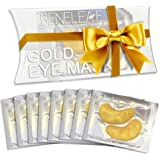 Collagen Eye Mask, Dark Circles Under Eye Treatment - 24K Pure Nano Gold - Repair and Moisturize Puffy Eyes. Crystal Silicone Patches (8 Pairs)